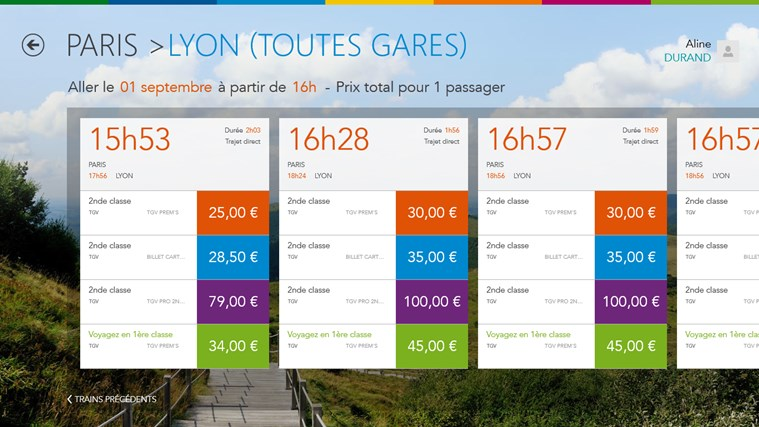 Voyages-SNCF on Windows8 (Result of a Search)