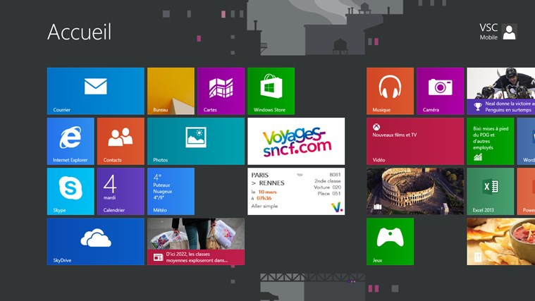 Voyages-SNCF on Windows8 (as a tile in the Metro UI)