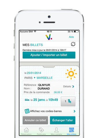 Voyages-SNCF on iPhone (List of Train Tickets)