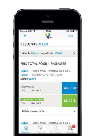 Voyages-SNCF on iPhone (Result of a Search)