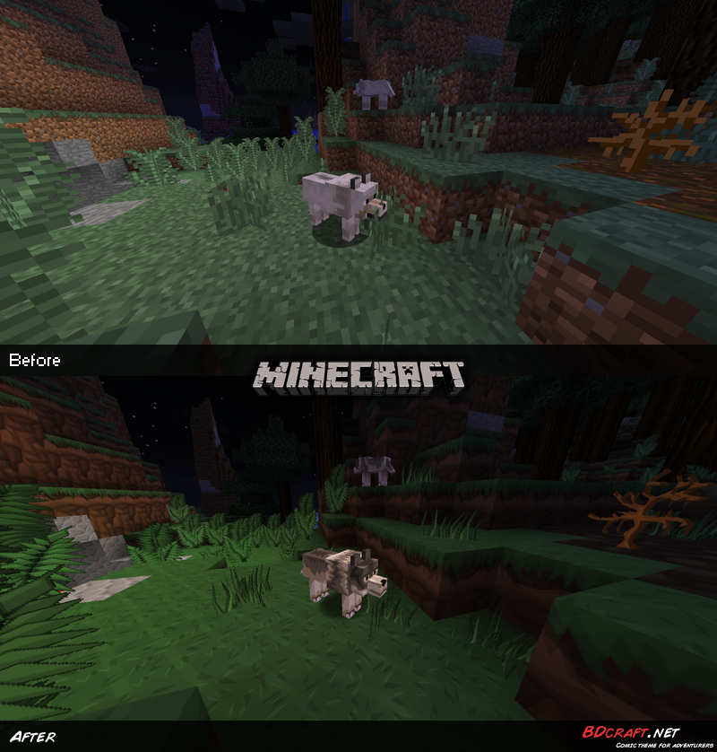 Minecraft Wolves Default / PureBDcraft